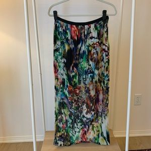 Multicolored Floral Pleated Chiffon Maxi Skirt